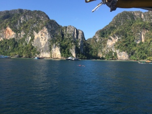 On the ferry arriving to Tonsai Bay, Koh Phi Phi Don, Krabi, Thailand