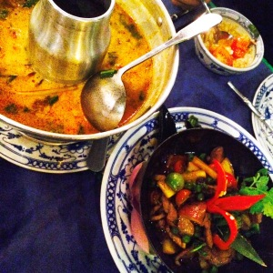 Tom Yum and Beef Loklak from Wok Republik, Siem Reap, Cambodia